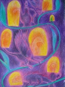 D.B., Dans la maison (les gardiens), 19 X 13 cm, crayon sur papier, 2015