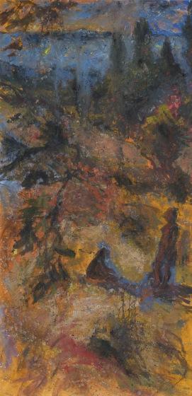 crépuscule Safavide, Drôme, Tempera sur papier marouflé, 250 x 122 cm, 2017