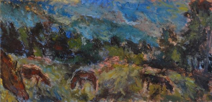 Grands chevaux, Huile et tempera sur papier marouflé, 122x 250, 2017