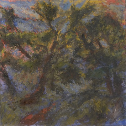 img022, Alexandre Hollan sur le motif, Hérault, tempéra sur papier marouflé sur toile, 130 x 260 cm, 2017