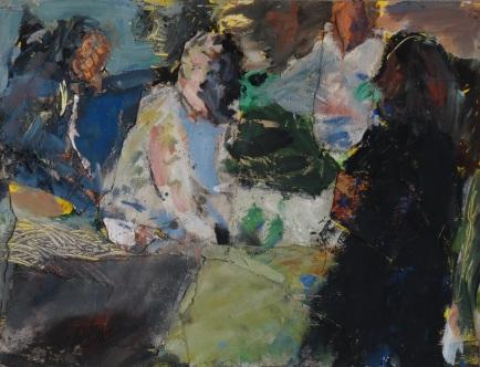 scène de marché, Tempera et collages sur papier, 50 x 65cm, 2009