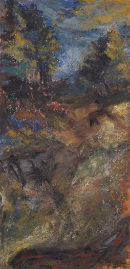Chemin, 250 x 122 cm, huile sur papier marouflés, 2017