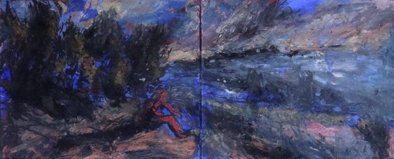 Mariette Bebert dans le couchant, Tempéra sur Papier, 65 x 162 cm, 2019